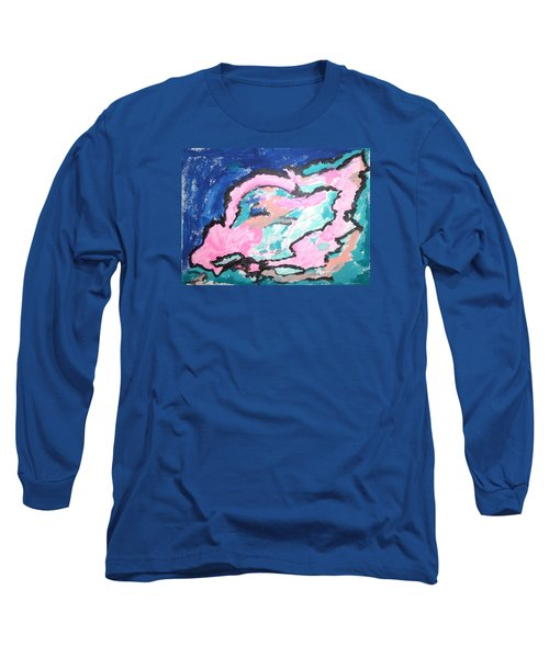 Long Sleeve T-Shirt featuring the painting A Rosy Experience by Esther Newman-Cohen