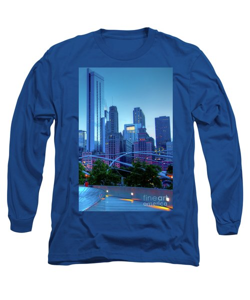 A View Of Millenium Park From The Amoco Bridge In Chicago At Dus Long Sleeve T-Shirt