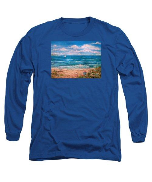 A Walk In The Sand Long Sleeve T-Shirt by Dee Davis