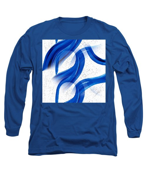 Abstract Acrylic Painting Blues Series 2 Long Sleeve T-Shirt by Saribelle Rodriguez