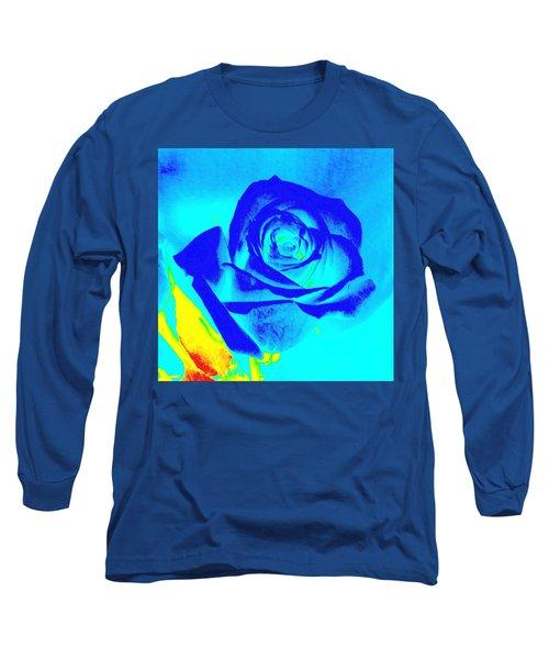Single Blue Rose Abstract Long Sleeve T-Shirt