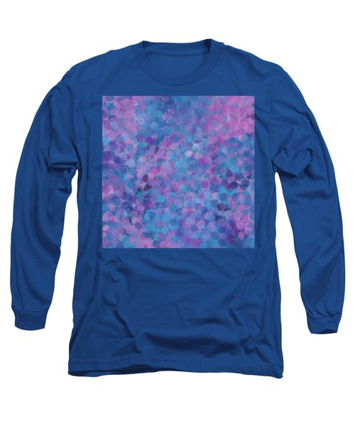 Long Sleeve T-Shirt featuring the mixed media Abstract Blues Pinks Purples 3 by Clare Bambers