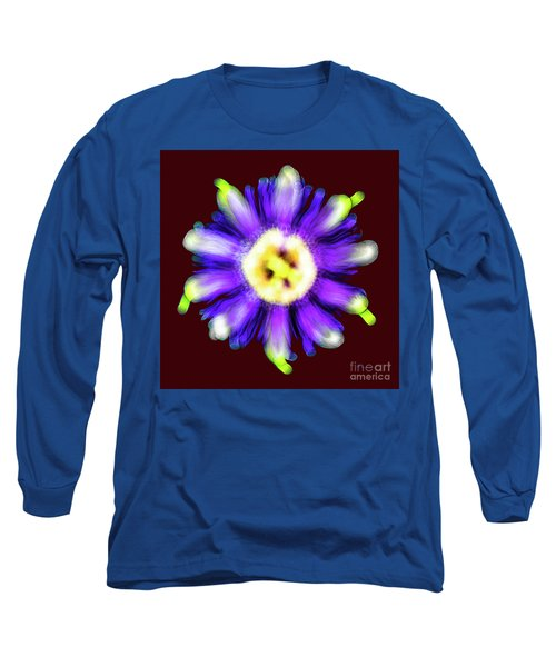 Abstract Passion Flower In Violet Blue And Green 002r Long Sleeve T-Shirt