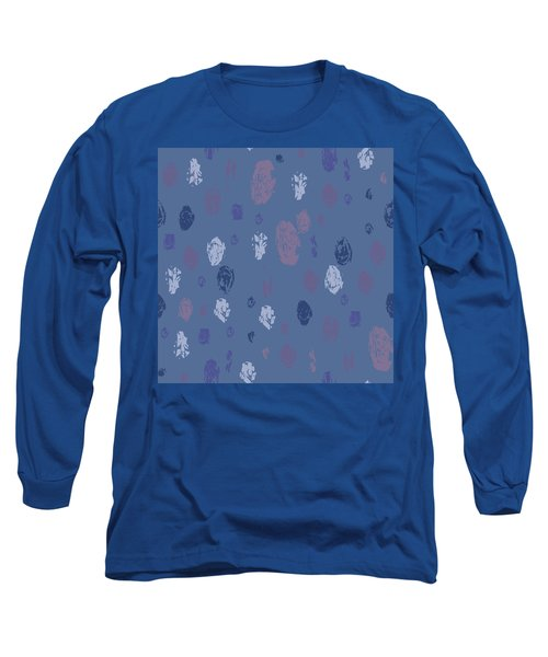 Abstract Rain On Blue Long Sleeve T-Shirt