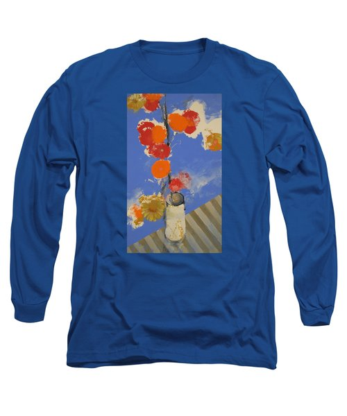 Long Sleeve T-Shirt featuring the painting Abstracted Flowers In Ceramic Vase  by Cliff Spohn