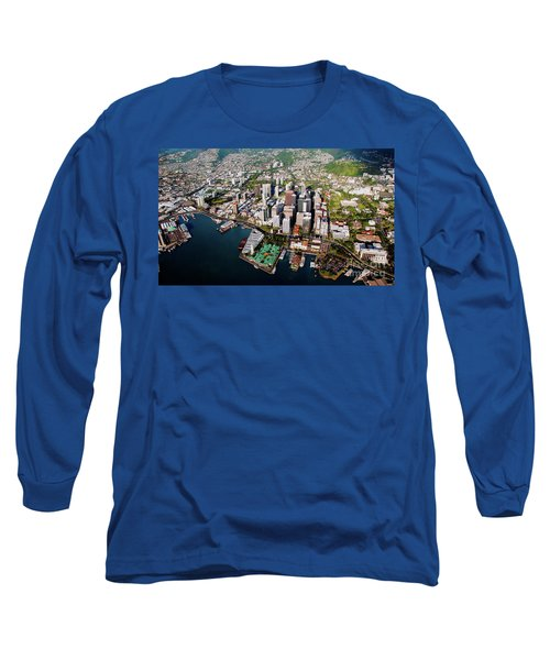 Aerial Panorama - Downtown - City Of Honolulu, Oahu, Hawaii  Long Sleeve T-Shirt