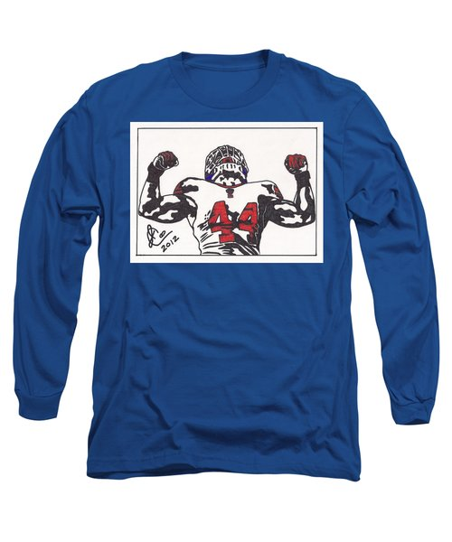 Long Sleeve T-Shirt featuring the drawing Ahmad Bradshaw by Jeremiah Colley