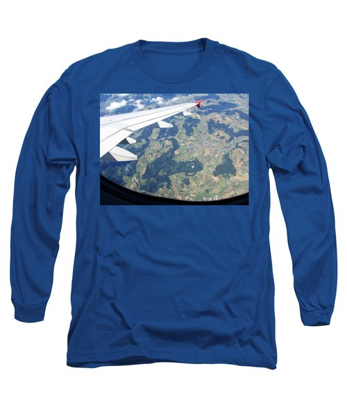 Long Sleeve T-Shirt featuring the photograph Air Berlin Over Switzerland by Travel Pics