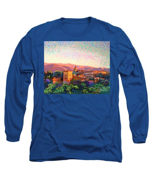 Long Sleeve T-Shirt featuring the painting Alhambra, Grenada, Spain by Jane Small