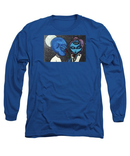 Long Sleeve T-Shirt featuring the drawing Aliens Love Flowers by Similar Alien