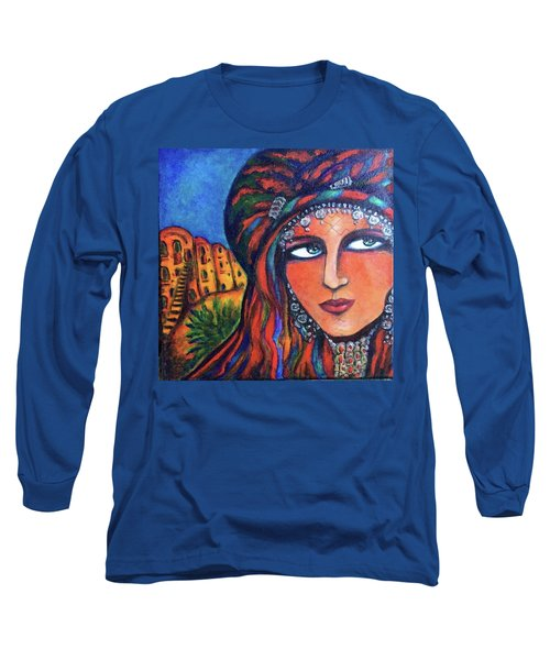Long Sleeve T-Shirt featuring the painting Amazigh Beauty 2 by Rae Chichilnitsky