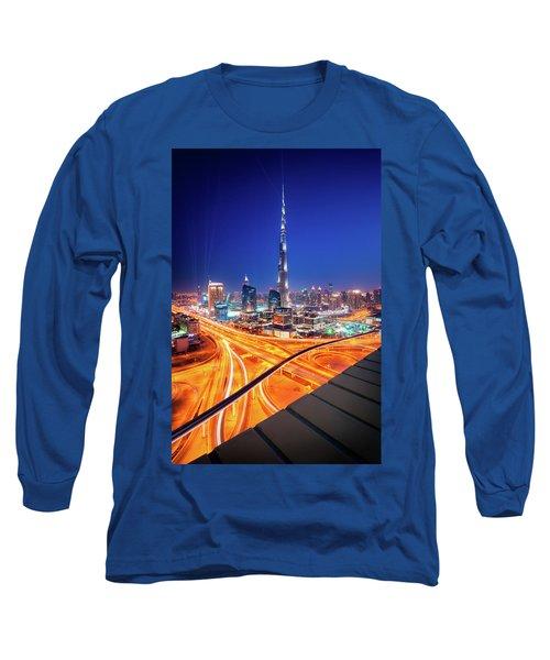 Amazing Night Dubai Downtown Skyline, Dubai, United Arab Emirates Long Sleeve T-Shirt