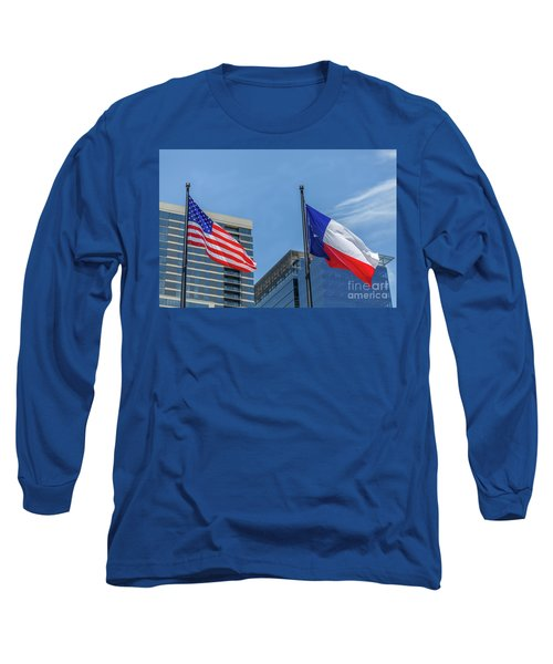 American And Texas Flag On Top Of The Pole Long Sleeve T-Shirt