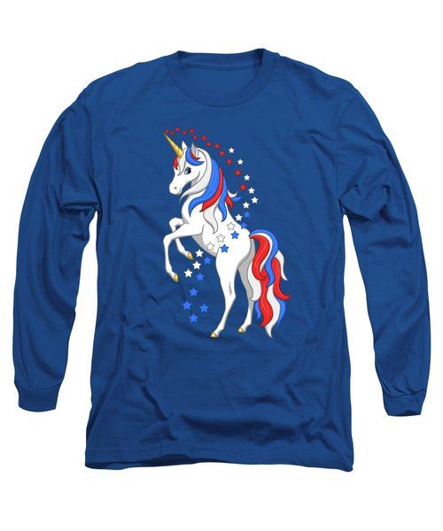 American Flag Patriotic Unicorn Long Sleeve T-Shirt