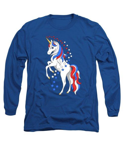 American Flag Patriotic Unicorn Long Sleeve T-Shirt