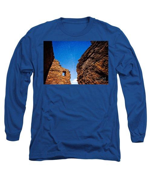 Ancient Native American Pueblo Ruins And Stars At Night Long Sleeve T-Shirt