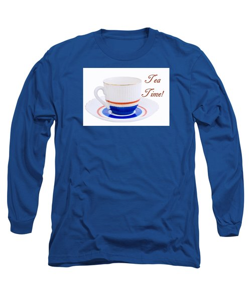 Antique Teacup From Japan With Tea Time Invitation Long Sleeve T-Shirt by Vizual Studio
