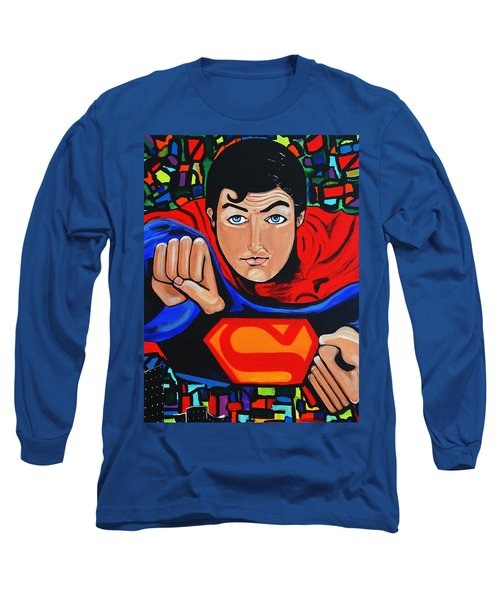 Art Deco  Superman Long Sleeve T-Shirt by Nora Shepley