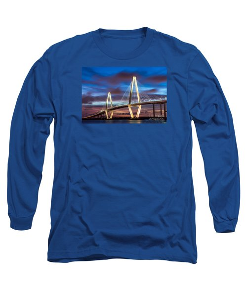 Arthur Ravenel Bridge At Night Long Sleeve T-Shirt by Jennifer White