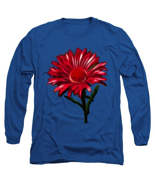 Red Daisy Long Sleeve T-Shirt by Shane Bechler