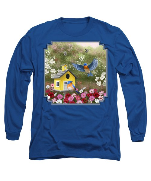 Bluebirds And Yellow Birdhouse Long Sleeve T-Shirt by Crista Forest
