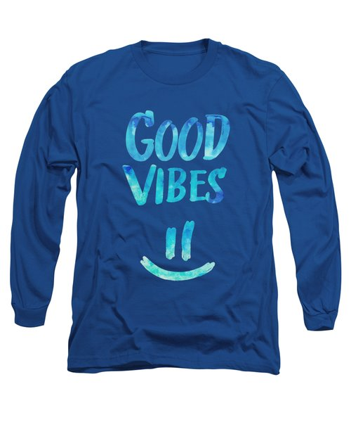 Good Vibes  Funny Smiley Statement Happy Face Blue Stars Edit Long Sleeve T-Shirt