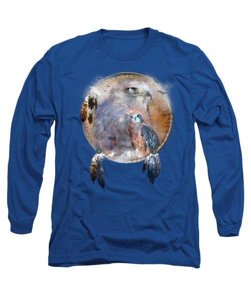 Long Sleeve T-Shirt featuring the mixed media Dream Catcher - Hawk Spirit by Carol Cavalaris