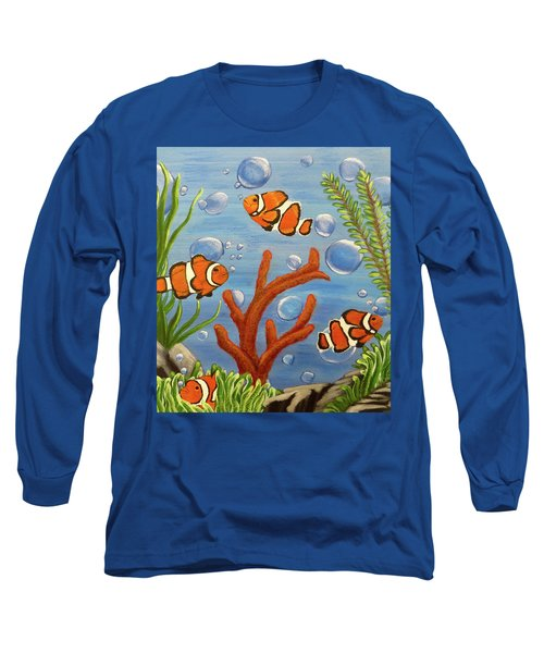 Long Sleeve T-Shirt featuring the painting Clowning Around by Teresa Wing