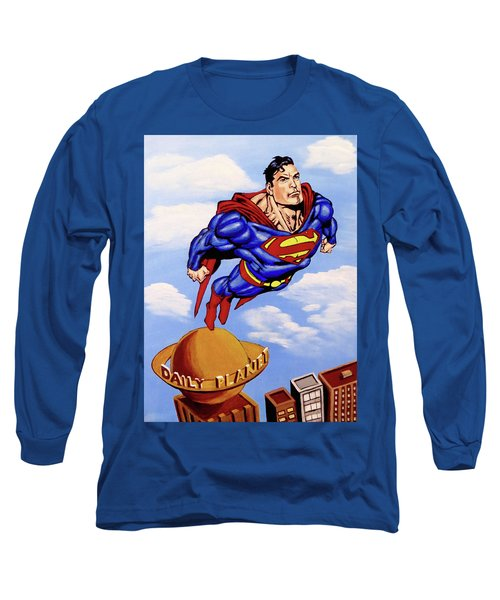 Long Sleeve T-Shirt featuring the painting Superman by Teresa Wing