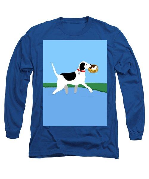Cartoon Hero Hound Rescues Two Baby Birds Long Sleeve T-Shirt