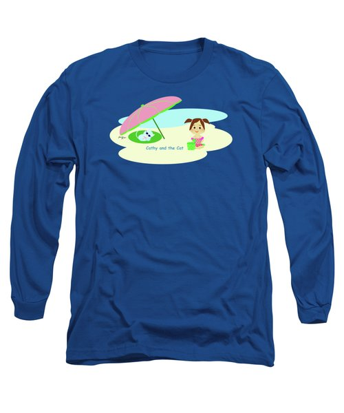 Cathy And The Cat At The Beach Long Sleeve T-Shirt