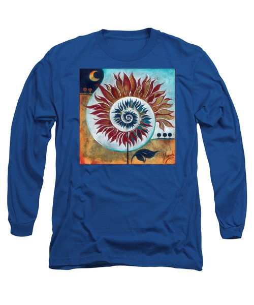 Long Sleeve T-Shirt featuring the painting At The Edge Of Day And Night by Anna Ewa Miarczynska