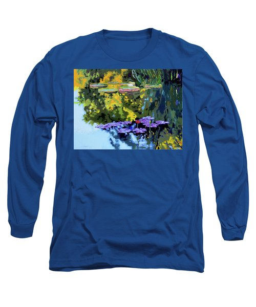 Autumn Reflections On The Pond Long Sleeve T-Shirt by John Lautermilch