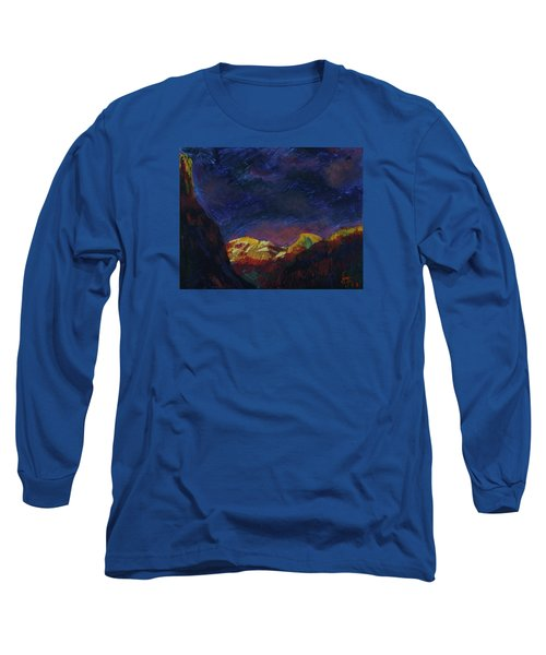 Long Sleeve T-Shirt featuring the mixed media Autumn Sunset Over Half Dome 2013 A by Walter Fahmy