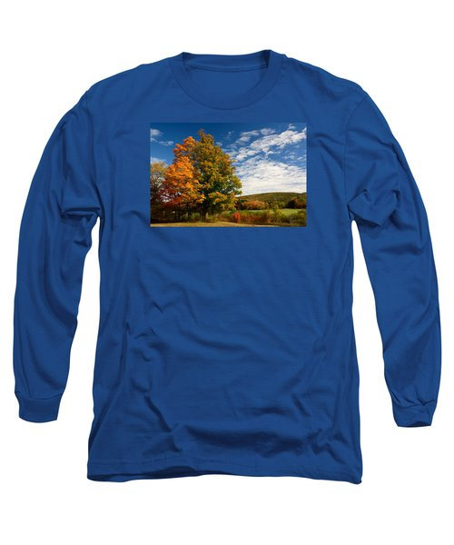 Long Sleeve T-Shirt featuring the photograph Autumn Tree On The Windham Path by Nancy De Flon