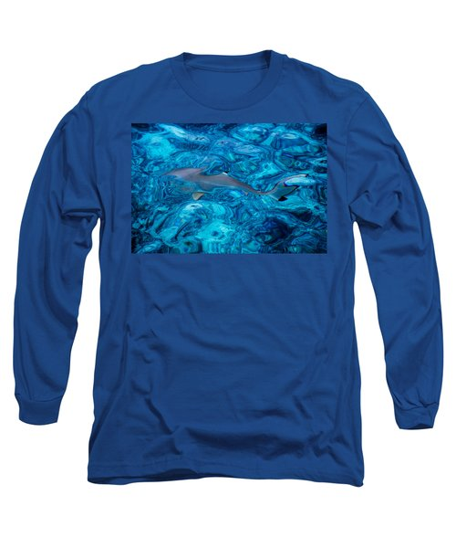 Baby Shark In The Turquoise Water. Production By Nature Long Sleeve T-Shirt