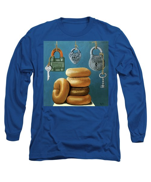 Long Sleeve T-Shirt featuring the painting Bagels And Locks by Linda Apple