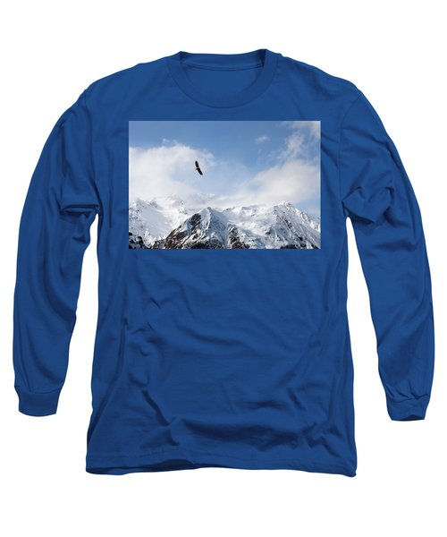 Bald Eagle Over Mountains Long Sleeve T-Shirt