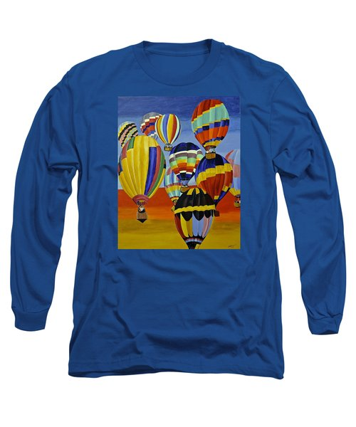 Long Sleeve T-Shirt featuring the painting Balloon Expedition by Donna Blossom