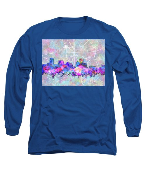Long Sleeve T-Shirt featuring the painting Baltimore Skyline Watercolor 6 by Bekim Art