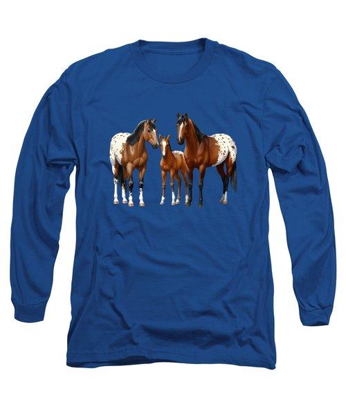 Bay Appaloosa Horses In Winter Pasture Long Sleeve T-Shirt