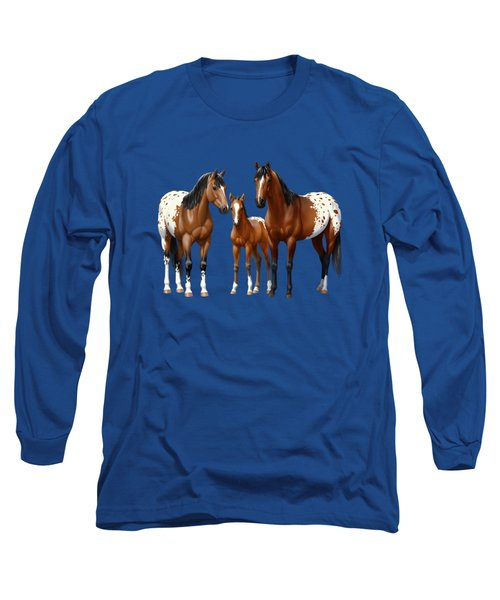 Bay Appaloosa Horses In Winter Pasture Long Sleeve T-Shirt