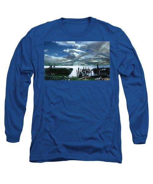 Bayonne Bridge Long Sleeve T-Shirt by Steve Karol