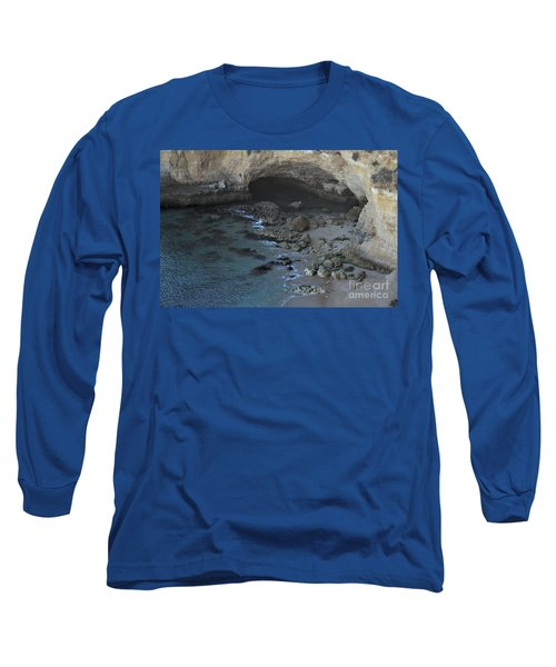 Beach Cave From The Cliffs In Malhada Do Baraco Long Sleeve T-Shirt by Angelo DeVal