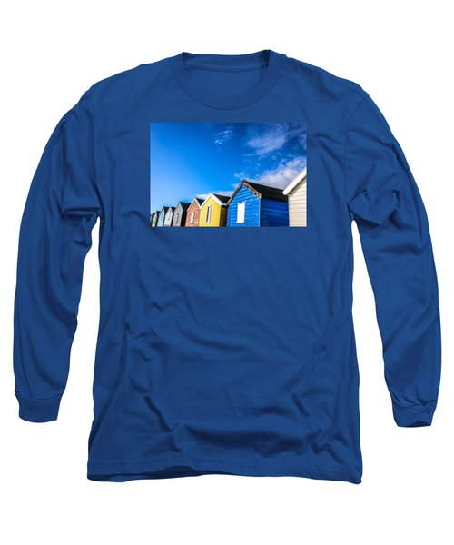 Beach Huts In The Sunlight Long Sleeve T-Shirt by David Warrington