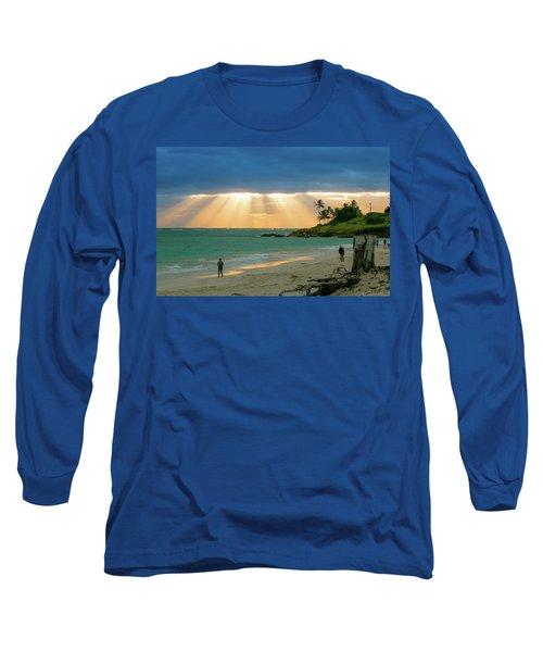 Beach Walk At Sunrise Long Sleeve T-Shirt by E Faithe Lester
