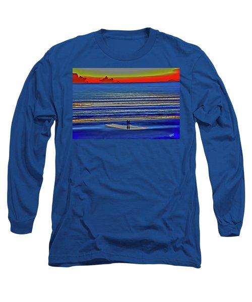 Beach Walking At Sunrise Long Sleeve T-Shirt