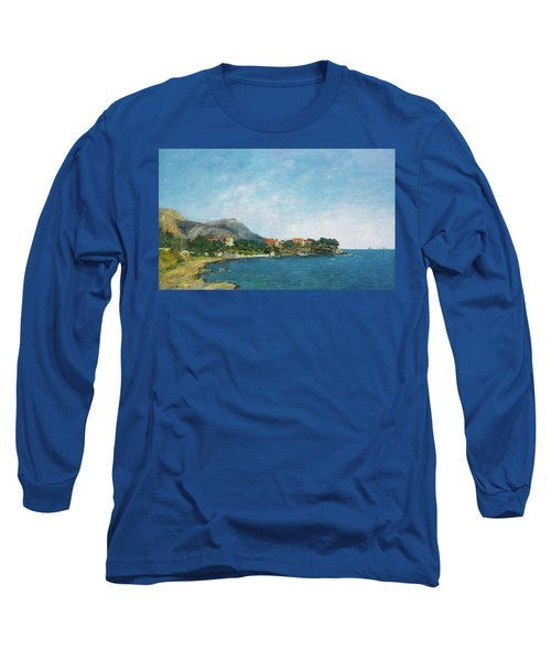 Long Sleeve T-Shirt featuring the painting Bealieu - The Bay Of Fourmis by Eugene Boudin