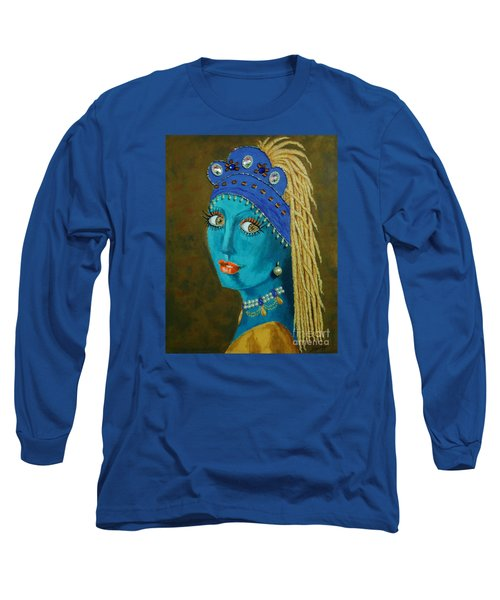 Belly Dancer With A Pearl Earring -- The Original -- Whimsical Redo Of Vermeer Painting Long Sleeve T-Shirt
