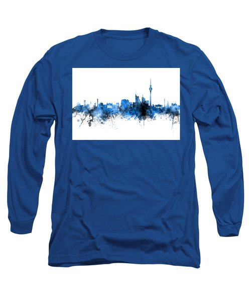 Berlin Germany Skyline Blue Signed Long Sleeve T-Shirt